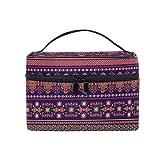 HaJie - Bolsa de maquillaje de gran capacidad, diseño retro de mandala con flores, azteca de viaje, portátil, neceser, bolsa de almacenamiento, bolsa de lavado para mujeres y niñas