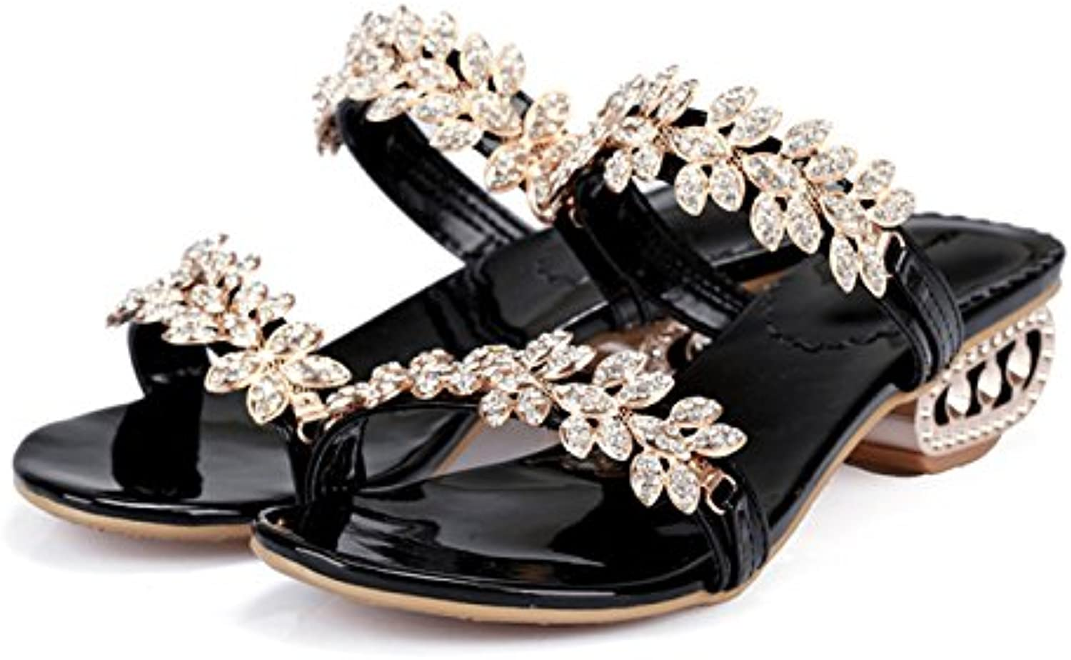 Dahanyi Stylish Women Sandals Summer 2018 Crystal Chunky Heel Sandals Party shoes Size 34-43 Rhinestone Flower Sandals shoes Women gold