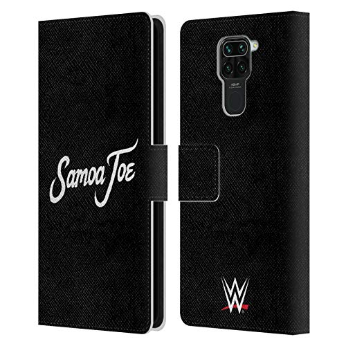 Head Case Designs Officially Licensed WWE Logo Samoa Joe Leather Book Wallet Case Cover Compatible with Redmi Note 9 / Redmi 10X 4G