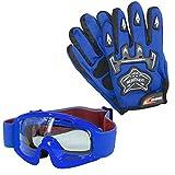 Leopard Kinder Motocross Blau Handschuhe (S - 5cm) und Zorax Brille Cross Motorrad Quad Off-Road für Youth