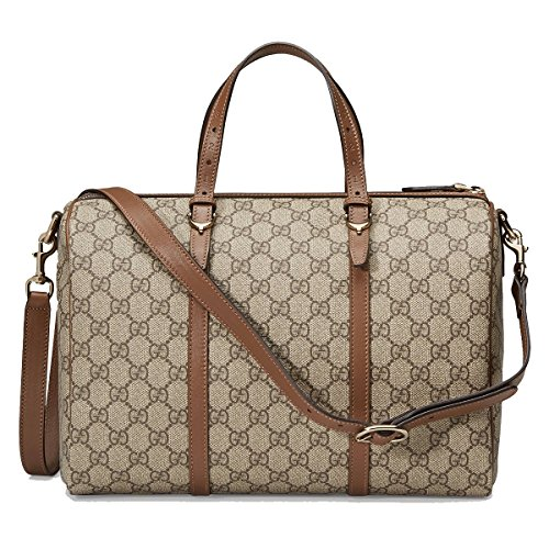Gucci Nice Supreme Canvas and Leather Boston Handbag Brown Top Handle Bag with Shoulder Strap 322231