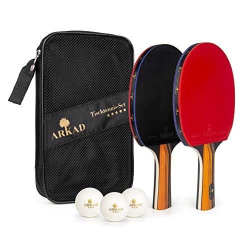 Arkad, set da ping pong da tavolo • 2 racchette da ping pong + 3 palline premium • Set racchette da ping pong con borsa • Racchetta da ping pong professionale set per sport al chiuso e all'aperto