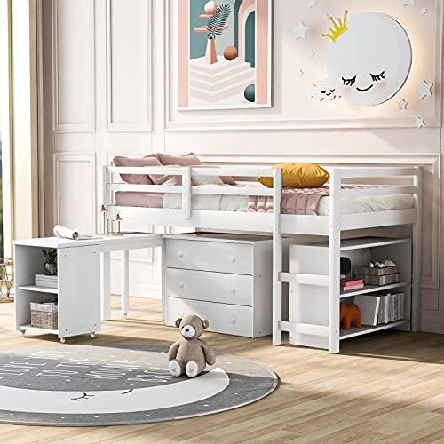 Moiitee Litera para niños, cama de madera de 3 pies con escritorio, escritorio de 3 cajones y almacenamiento, múltiples funciones para niños para el hogar, dormitorio, escuela