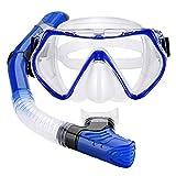 Professionelle Tauchmaske Schnorcheln Anti Fog Goggles Full Dry Schnorchel Set Adult Scuba Schnorchel Schwimmbrillen Für Sport-Kamera,Blau