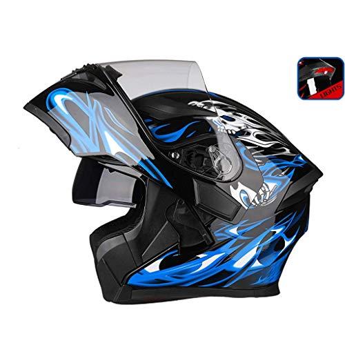 OUTO Uncovering Casque Moto équitation extérieure LED feu arrière Avertissement HD Anti-Brouillard Miroir Casque intégral Visage et Les Hommes Cool (Couleur : Black Blue Devil, Taille : XXXL)