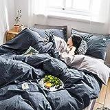Juego de ropa de cama de algodón de color sólido de 4 sábanas hipoalergénicas ultra suaves para cama individual, doble, cuatro estaciones, universal-g King-O_Double iteración