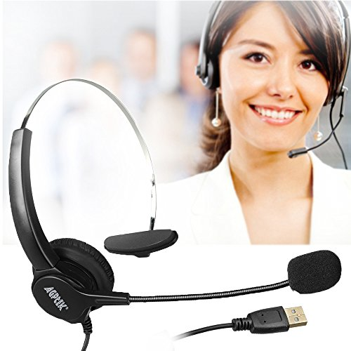 『AGPtek USBヘッドセット ハンズフリー片耳式USBエントリータイプ PCオーバーヘッドフォン ブラック』の2枚目の画像
