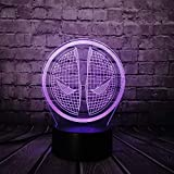 KangYD Kreative 3D Illusion Lampe, 3D Nachtlicht, Weihnachtsgeschenk, Stimmung Schreibtischlampe, Boys Geschenk, Tischlampe, LED berühren, D - Remote 7 Farbe (Crack White)