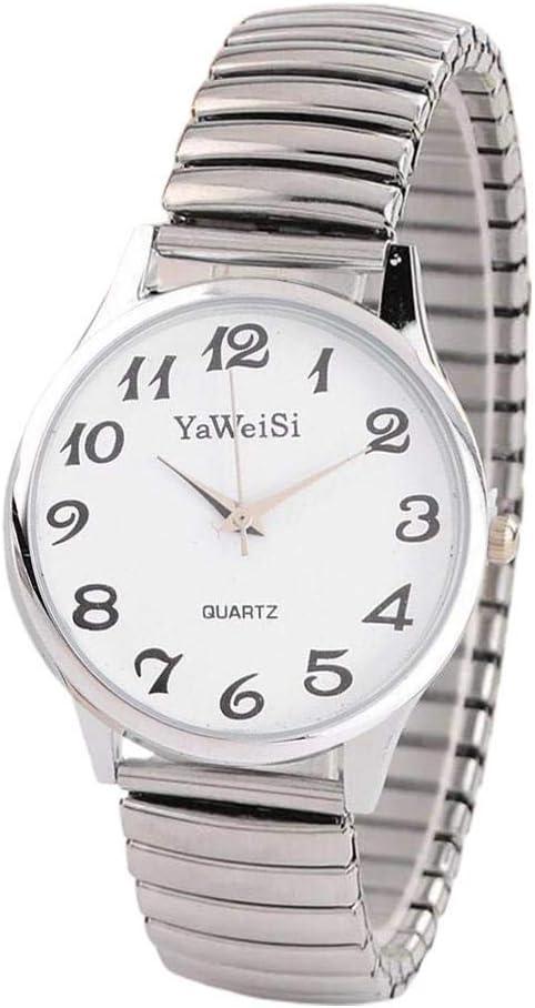 Reloj de pulsera analógico de cuarzo con banda de expansión elástica para mujer