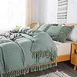 Brandream Boho Bedding Tassel Duvet Cover Fringed California King 3 Pcs 100% Washed Cotton Vintage and Elegant Ruffle Duvet Covers Green