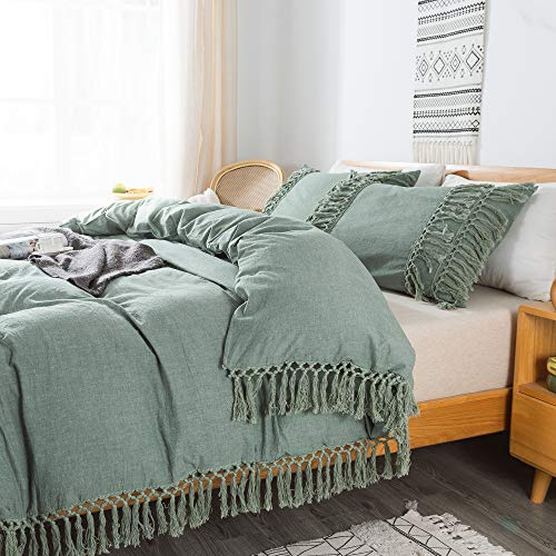Softta Boho Bedding Tassel Duvet Cover Fringed Queen 3 Pcs 100% Washed CottonTeen Baby Vintage and Elegant Ruffle Duvet Covers Green