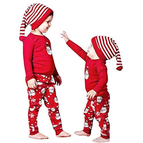 Ropa Bebé, Navidad Bebé niño niña Trajes Ropa Print Camiseta Tops + Pantalones Conjunto 0-24 Mes (Tamaño:18-24Mes, Rojo)