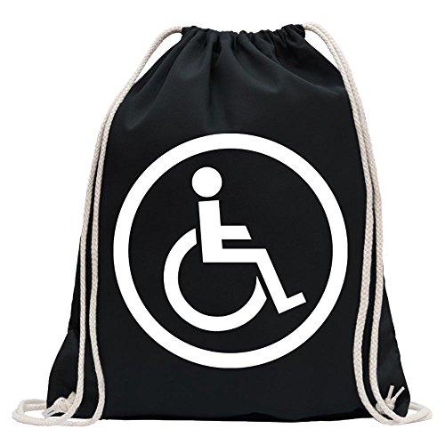 Kiwistar Design Usuario Silla de Ruedas 2Divertido Mochila Deportivo para el Fitness. Gymbag para lo Shopping de algodón con cordón, Unisex Adulto, Negro, 37 x 46cm