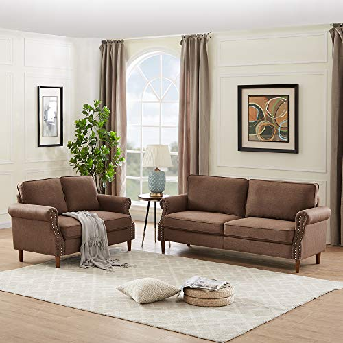 Morden Sofa Set 2 Pieces, Rockjame Classic Modern Fabrics Futon 2-Piece Living Room Set with Tufted Sofa and Loveseat, Sofas for Living Room, Dorm, Bedroom, Apartment and Office (Brown)