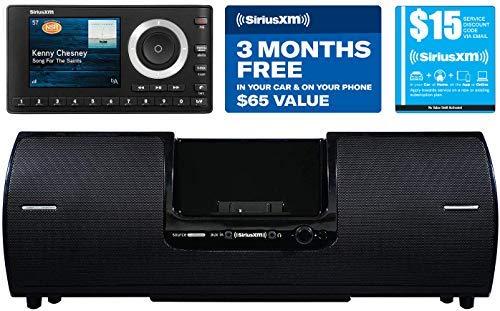 SiriusXM SXSD2 Portable Speaker Dock Audio System & SiriusXM SXPL1V1 Onyx Plus Satellite Radio with Vehicle Kit with Free 3 Months Satellite and Streaming Service (Bundle)
