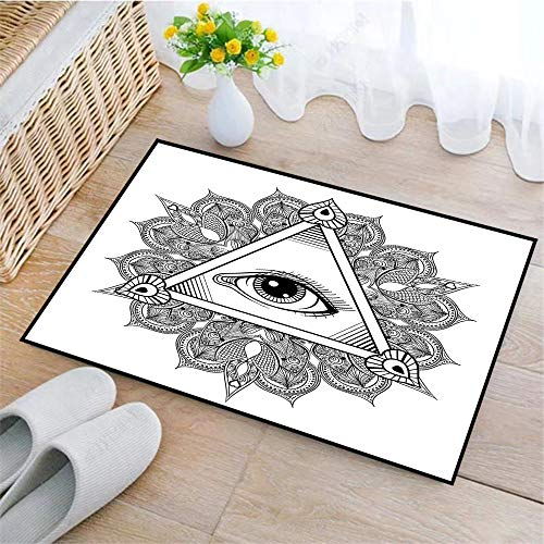 Alfombrilla de Baño Antideslizantes, Ojo, símbolo de tatuaje de ojo que todo lo ve vintage con ocultismo es,Tapete para el Piso Lavable a Máquina con Microfibras Suaves Absorbentes de Agua para Bañera