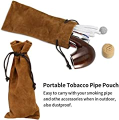 Joyoldelf Wooden Tobacco Smoking Pipe, Pear Wood Pipe with Pipe Cleaners, 9 mm Pipe Filters, 3-in-1 Pipe Scraper, Pipe Bits, Metal Balls, Cork Knockers, Bonus a Pipe Pouch with Gift Box #2