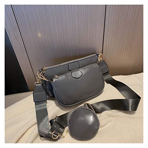 Youpin Bolso cruzado de piel sintética monocolor para mujer, bolso de mano, bolso de mano para mujer, bolso de mano, 3 tipos por la noche, monedero (color: gris A)