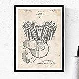 Nacnic Poster de Patente de motor moto Harley. Lámina para enmarcar. Poster con diseños, Patentes, Planos de inventos Famosos. Decoracion de hogar (A3 Con marco)