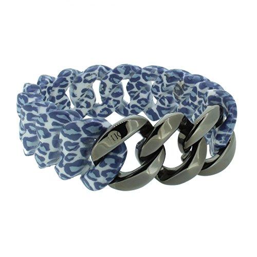 Hanse-Klunker Armband Damen ORIGINAL Silikon Muster Leopard Jeans, Edelstahl Gun Metal Frauen Mädchen Größe 19-20 cm inkl. Schmuck-Geschenk-Box