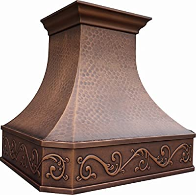 Copper Range Hood in Stock, Ready to Ship, 4-6 Working Days Delivery, Comes with Insert Liner & 610CFM Internal Motor Fan, Wall Mount