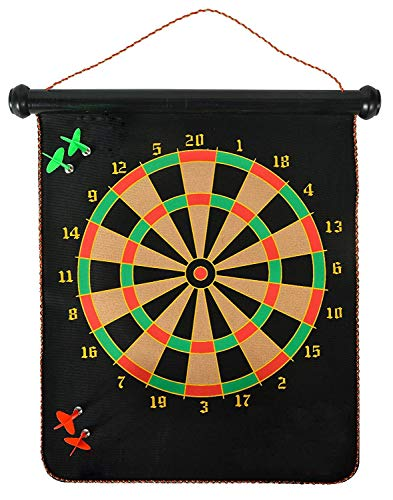 Toyshine Magnetic Power with Double Faced Portable and Foldable Dart Game with 4 Colourful Non Pointed Darts for Kids , Multi Colour, 12-Inch SSTP