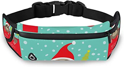 Vrolijk Kerstmis Leuke Luiaard Taille Pack Bag voor Fietsen Fitness Oefening Waterdichte Verstelbare Workout Fanny Pack Vr...
