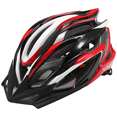 Lixada Casco da bicicletta sicurezza sport della bici con visiera - Integrated Mountain Bike Bicycle Riding Helmet - 25 Vents doppio In-Mould per Casco Bici Adulto 58~62cm