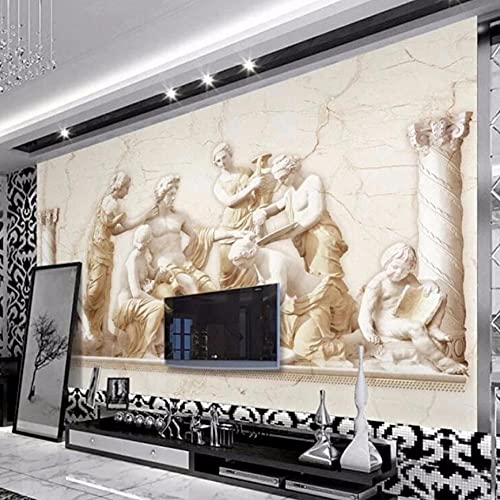 Mural 3D de estilo europeo, arte en relieve romano, sala de estar, estudio, sofá, TV, papel tapiz de fondo, decoración del hogar, 200 * 140 cm
