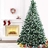 Artificial Christmas Tree 7.5ft, Snow Flocked Christmas Tree, Christmas Pine Tree with 54 Pine Cones 1200 Branch Tips and Metal Stand for Merry Christmas Indoor and Outdoor Decorations Tree
