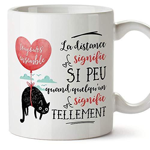 MUGFFINS Mug Tasse Saint Valentin (Je t aime) - la distance signifie si peu - Idées Cadeaux Romantique pour Amoureux Petits Amis Copains