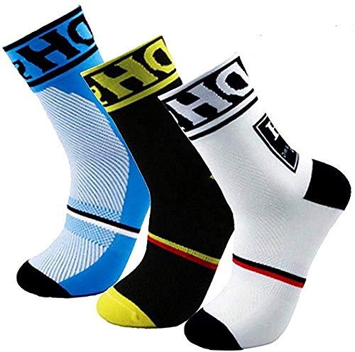 HD Sports Calze da ciclismo da uomo, imbottite e traspiranti, Calze a compressione ad arco ad alte prestazioni, taglia 6-11