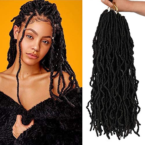 Youngther 18 inch New Faux Locs Crochet Hair Curly Wavy 6 Packs New Soft Locs Crochet Hair Synthetic Crochet Hair for Black Women (18'6Pcs-#2)