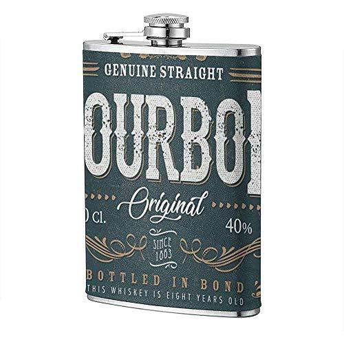 Drinkflessen, Vintage Whisky Label voor Fles Illustratie van Een Vintage Ontwerp Elegant Whisky 8 oz RVS Hip Flask
