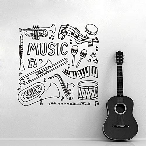 ASFGA Einzigartiges Musikinstrument Werkzeug Wandtattoo Klavier Klavier Klavier Saxophon Schlagzeug Set Wandaufkleber Musik Studio Dekoration Jugendzimmer Musik Kunst Kombination Team 110x110cm