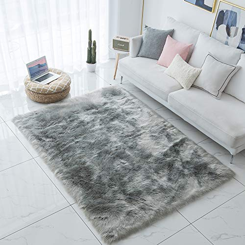 Carvapet Shaggy Soft Faux Sheepskin Fur Area Rugs Floor Mat Luxury Beside Carpet for Bedroom Living Room 8ft x 10ft, Grey