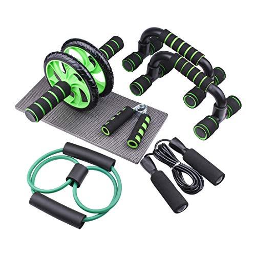 MODKON 6-in-1 Fitness Workout Set - AB Wheel Roller Addominali +2 Maniglie per Flessioni + Corda per Saltare + Grip a Mano + Tappetino Fitness + Figura 8 Banda di Resistenza per Uomo/Donna Fitness.
