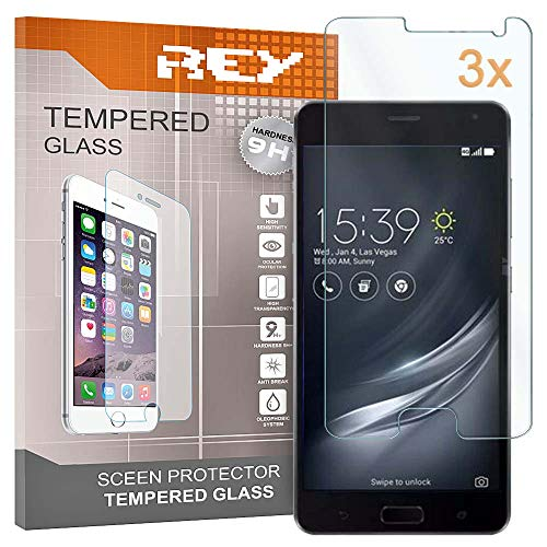 REY Pack 3X Pellicola salvaschermo per ASUS ZENFONE AR ZS571KL, Pellicole salvaschermo Vetro Temperato 9H+, di qualità Premium