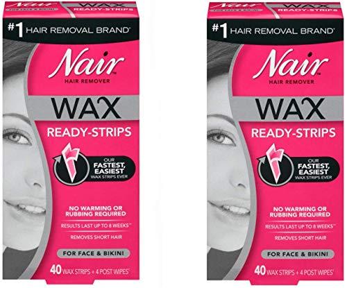 Nair Hair Remover Wax Ready-Strips 40 Count Face/Bikini (2 Pack)
