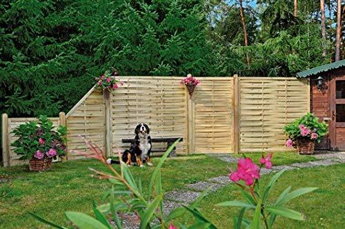 Gartenzaun Lamellenzaun I Sichtschutzzaun aus Fichte I druckimprägniertes Holz I Standard 180 x 180 cm I 1 Element I Zum Aufschrauben