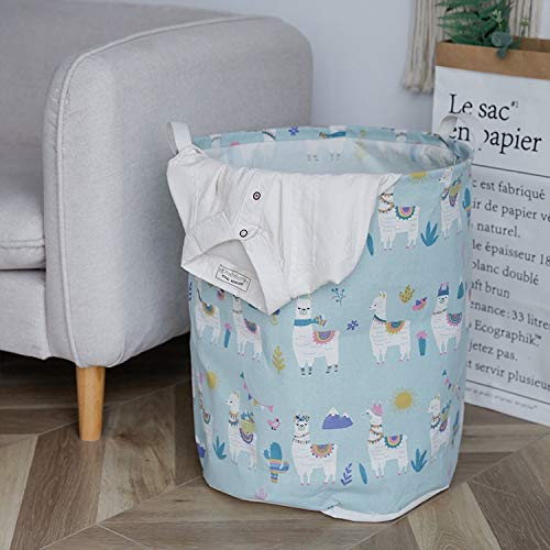 Tianzhi Cotton and linen desktop storage basket, sundries storage box, cosmetic storage box, foldable jacket, used to store quilts (Color : Blue Alpaca)