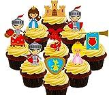 Set de fiesta con temática de cuento de hadas: Decoración comestible para tartas infantiles con diseño de caballeros, princesas, dragones y castillos, obleas para cupcakes, Pack of 36