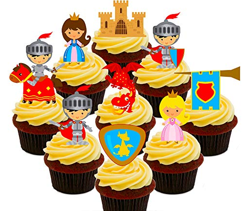 Märchen-Party-Set - Ritter, Prinzessinnen, Drachen und Schlösser, essbare Kuchendekorationen für Kinder - aufstellbare Oblaten-Aufsätze , Pack of 36
