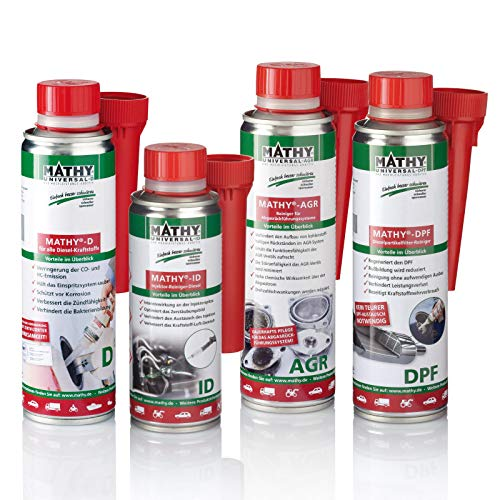 MATHY Diesel-Komplett-Kur - Reinigungsset Diesel System - Brennraum Reiniger + Injektor Reiniger + AGR-Ventil Reiniger + DPF Reiniger - Diesel Kraftstoff Additive, 250 ml + 200 ml + 2 x 300 ml