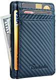 Travelambo Front Pocket Minimalist Leather Slim Wallet RFID Blocking Medium Size(Blue Carbon)