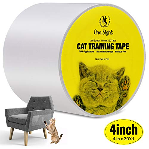One Sight Cat Scratch Training Deterrent Tape, 4 Inches x 30 Yards(33% Wider) Anti-Scratch Cat Furniture Protector, Clear Double Sided Cat Couch Protector Cat Sticky Paws Tape for Furniture, Carpet