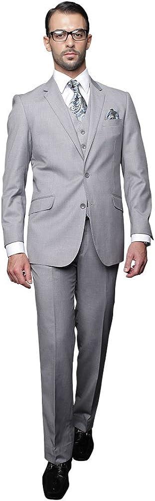 Statement 3 PC Men's Suit TZ-100 Italian Solid Color Super 150'S Wool Gray
