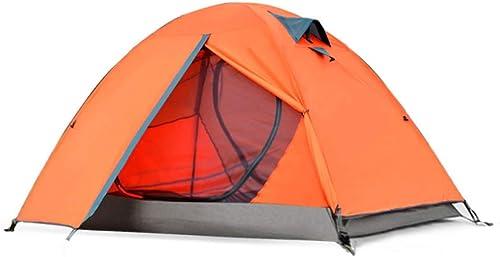 Byx- Tente Extérieure 2 Personnes Couple Camping Simple Double Double épaississement Camping Anti-Tempête 210x (60 + 140 + 60) X110m -Tente Grand (Couleur   Orange)