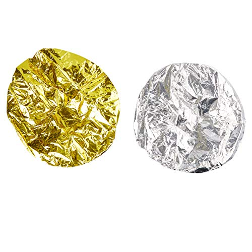 Juvale 12-Pack Tin Foil Natural Heat Shower Cap for Deep Conditioning, Gold and Silver