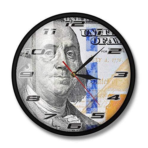 Reloj de Pared con diseño de Dinero de Cien dólares de Benjamin Franklin, Reloj de Pared con diseño de Billetes de 100 dólares, Regalo para Hombre de Negocios, Marco de Metal